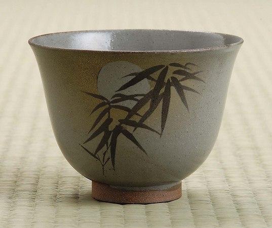 茶道具 抹茶茶碗銹絵(さびえ) 月の光通次阿山作