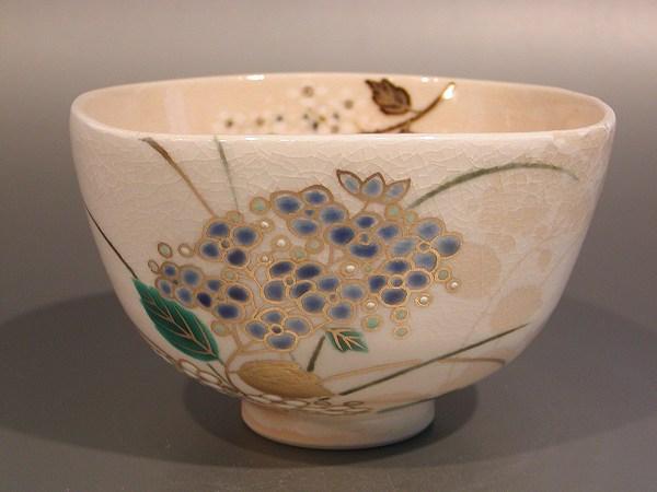 茶道具 抹茶茶碗掛分 紫陽花(あじさい)絵山川敦司作