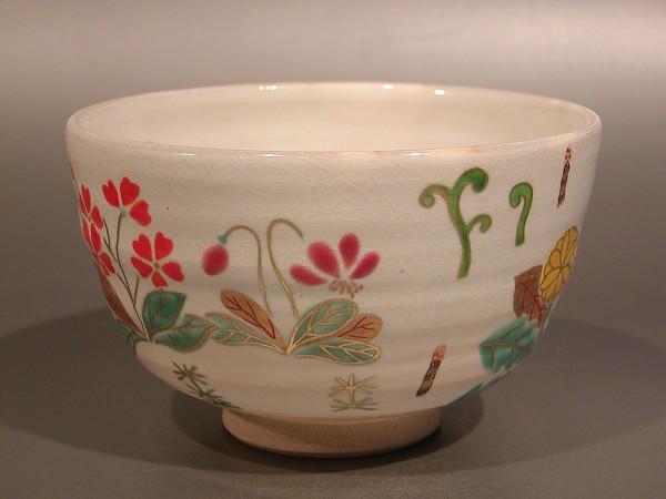 茶道具 抹茶茶碗色絵 春の野京焼 伊坂清香作