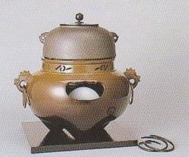 茶道具遠赤外線 炭型 電熱器唐銅 鬼面風炉YU-501-3P菊地政光作 釜添強弱切替スイッチ付