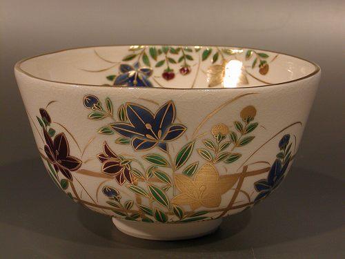 茶道具 抹茶茶碗色絵 桔梗画 N-1京都 相模竜泉作