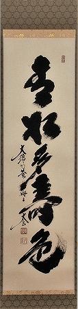 茶道具 掛軸 一行書「青松多寿色」大徳寺 黄梅院小林太玄師 直筆