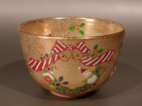茶道具 抹茶茶碗金砂子 クリスマス、京焼 伝統工芸士 小倉 亨作
