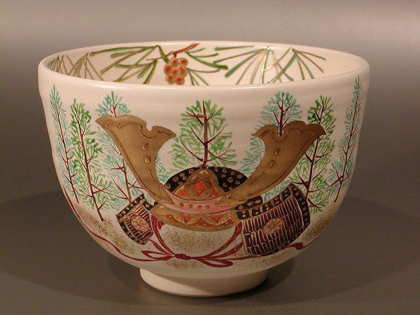 茶碗 兜に高野槙、 水出宋絢作