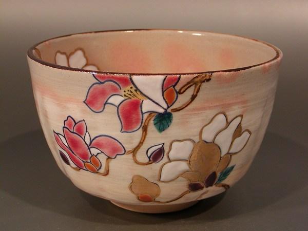鈴木一点 抹茶茶碗乾山写 木蓮(もくれん)京焼 茶道具
