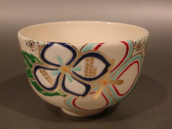 茶碗 色絵 紫陽花(あじさい)、 山本 蓼作