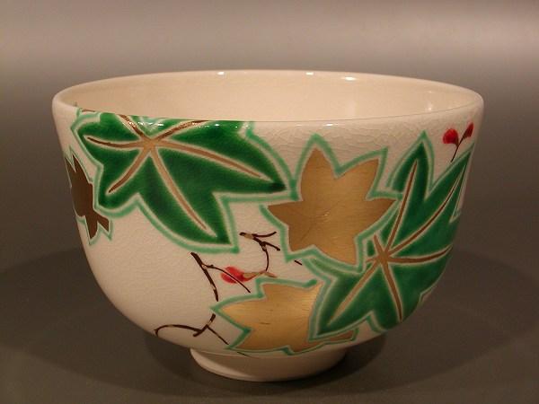 茶碗 色絵 青楓、 山本 蓼作