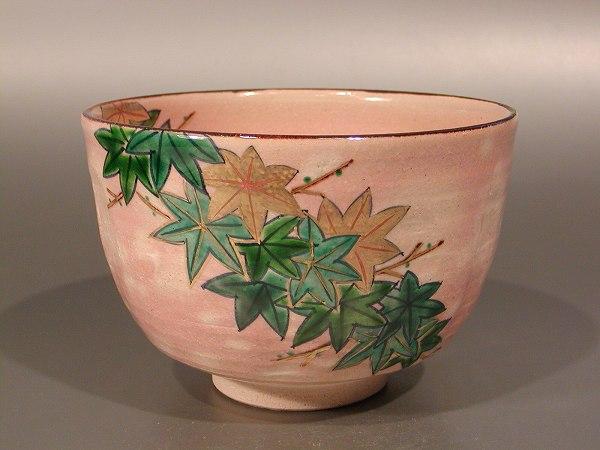 茶碗 乾山写 青楓、 鈴木一点作