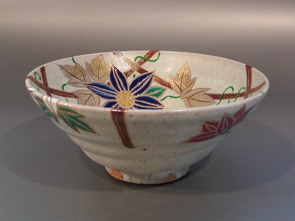 平茶碗 鉄仙の花、 井川和夫 燦光窯作