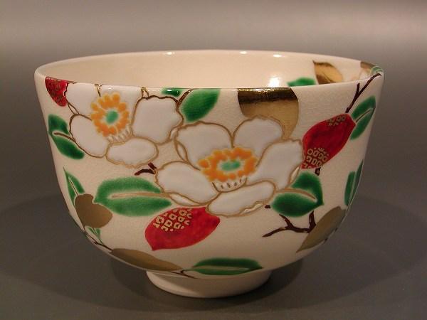 茶碗 色絵 沙羅(さら)--夏椿、山本 蓼作