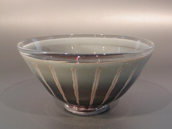 茶碗 超耐熱 燿変ガラス 青磁色、 由水常雄作