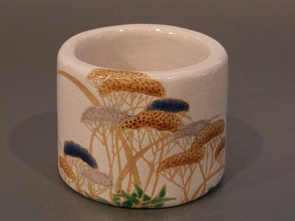 蓋置 女郎花(おみなえし)、 山崎窯 浅野紫仙作