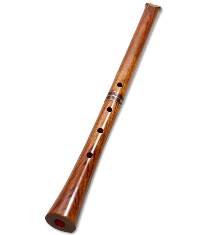蝴蝶宝 尺八(洋紫檀) 曲管 節なし 2尺3寸正律管 (0137)