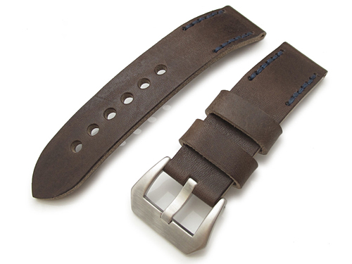 20mm MiLTAT 時計ベルト ハンドステッチング アニリンカーフ ラシット ネイビーステッチ