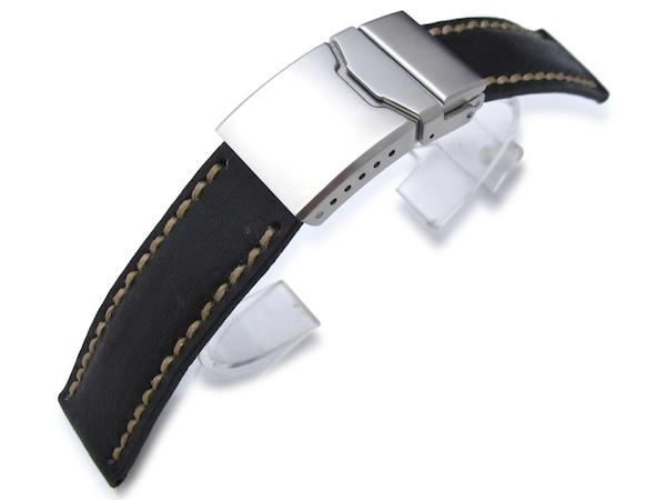 20mm MiLTAT 時計ベルト アニリンカーフ 驚きの価格が実現 ブラック 期間限定特価品 ハンドステッチング フリップロッククラスプ
