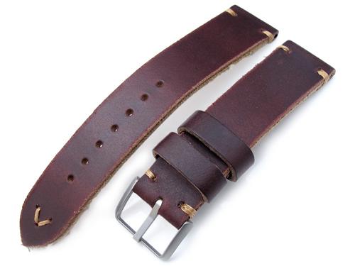 20mm MiLTAT 時計ベルト Hornween Chromexcel アニリンレザー バーガンディブラウン / ブラウンステッチ