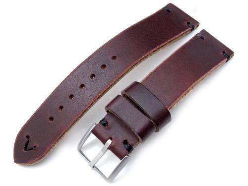 20mm MiLTAT 時計ベルト Hornween Chromexcel アニリンレザー バーガンディブラウン / ブラックステッチ