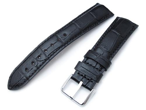 21mm MiLTAT 時計ベルト クロコグレーン マットブラック カーブドエンド