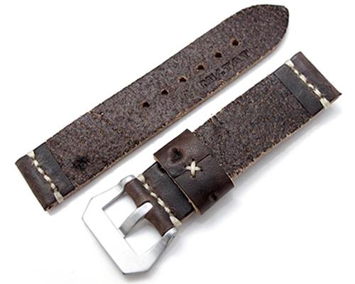 22mm MiLTAT 時計ベルト Zizz ハンドソーイング チーズエンボスカーフ ダークチョコレートブラウン ベージュステッチ パネライ40mm