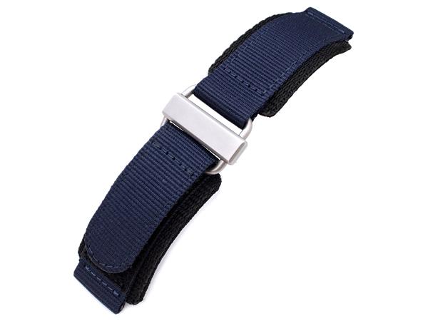 22mm MiLTAT 時計ベルト ナイロン ベルクロ ネイビーブルー サンドブラストシルバーバックル