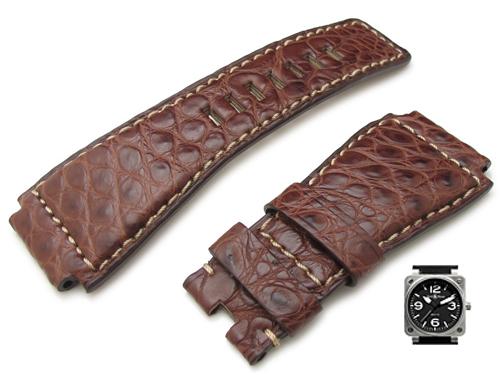 24mm TAIKONAUT 時計ベルト アリゲーター マットブラウン / ベージュステッチ Bell&Ross BR01・BR03