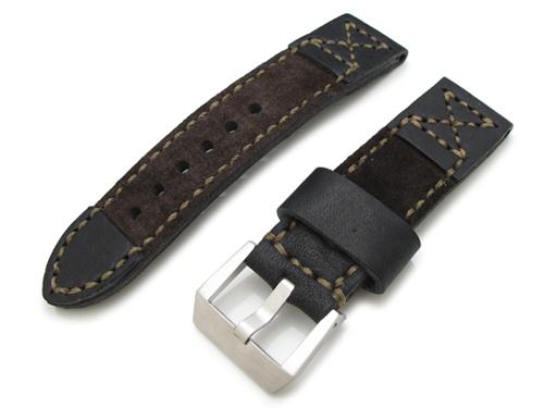 24mm MiLTAT 時計ベルト お金を節約 カーフ S6A03 + パネライ44mm 海外限定 スエード