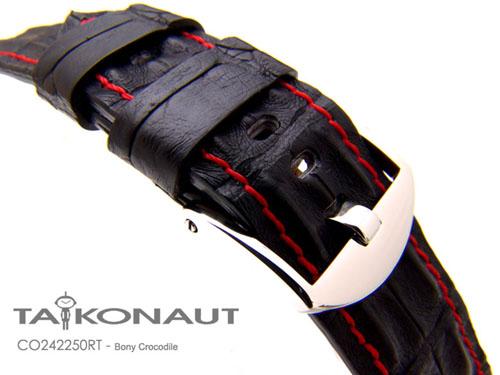 24mm TAIKONAUT 時計ベルト ホーンドボニークロコダイル マットブラック / レッドステッチ パネライ44mm