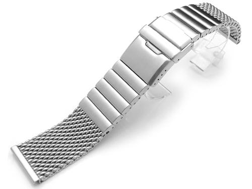 24mm TAIKONAUT 時計ベルト ワイヤーメッシュバンド ステンレススチール ブラッシュドシルバー
