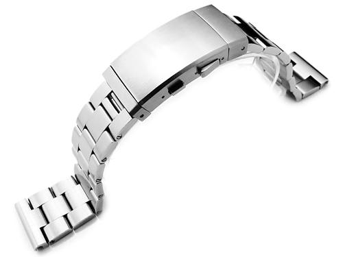 22mm メタル時計バンド ステンレススチール オイスター ブレスレット ブラッシュドシルバー エクステンションクラスプ ストレートエンド