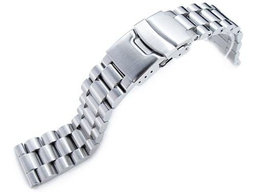 22mm メタル時計バンド ステンレススチール エンドミル ブレスレット ブラッシュドシルバー ストレートエンド