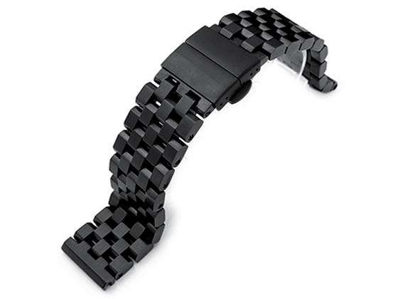 19mm メタル時計バンド ステンレススチール スーパーエンジニア タイプ2 ブレスレット PVDブラック Dバックル ストレートエンド