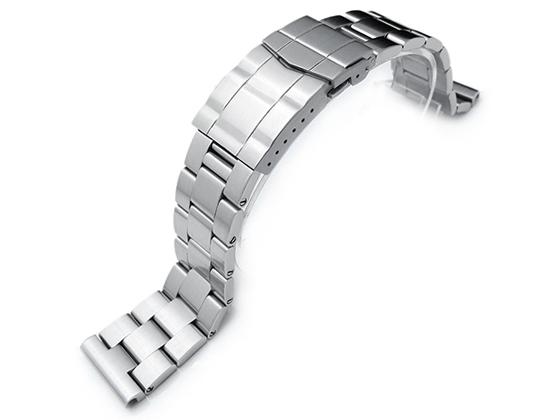 22mm メタル時計バンド ステンレススチール オイスター ブレスレット ブラッシュドシルバー サブマリーナクラスプ ストレートエンド