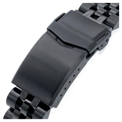 22mm メタル時計バンド ステンレススチール ANGUS ジュビリー ブレスレット PVDブラック Vクラスプ for セイコー プロスペックス ブラックタートル SBDY005 SRPC49K1