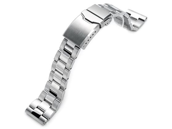 21.5mm メタル時計バンド ステンレススチール オイスター ブレスレット ツートン チャンファークラスプ for セイコー SEIKO Tuna SBBN029