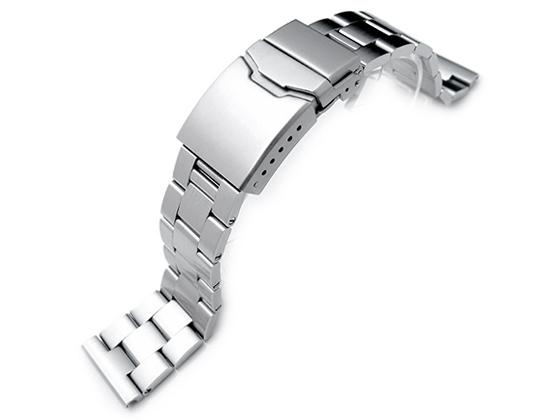 22mm メタル時計バンド ステンレススチール オイスター ブレスレット ブラッシュドシルバー チャンファークラスプ ストレートエンド
