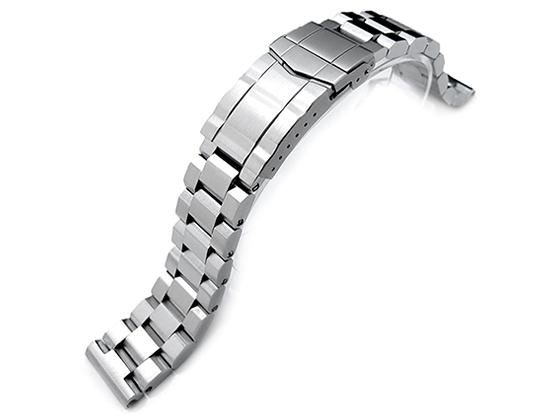20mm メタル時計バンド ステンレススチール ヘクサッド オイスター ブレスレット ブラッシュドシルバー サブマリーナクラスプ ストレートエンド