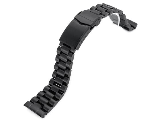 22mm メタル時計バンド ステンレススチール エンドミル ブレスレット PVDブラック Vクラスプ for セイコー プロスペックス サードダイバー復刻 ニュータートル SBDY041, SBDY027, SRPD48, SRPD46, SRPD45他