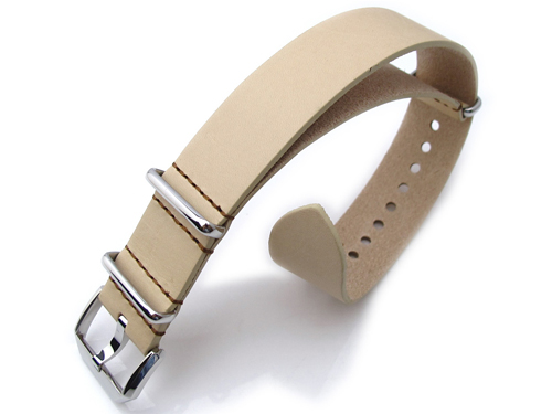 20mm MiLTAT 時計ベルト Senno G10 ベジタブルタンニンレザー LVベージュ / ブラウンステッチ