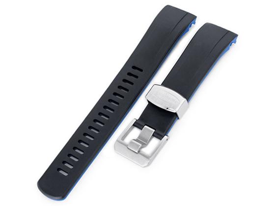 22mm Crafter Blue 時計ベルト NBRラバー ブラック&ブルー デュアルカラー カーブドエンド for セイコー サムライ SAMURAI SRPB49, SRPB51, SRPB53, SBDY007, SBDY009, SBDY011, SBDY019, SBDY025, SBDY029他