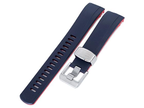 22mm Crafter Blue 時計ベルト NBRラバー ダークブルー&レッド デュアルカラー カーブドエンド for セイコー サムライ SAMURAI SRPB49, SRPB51, SRPB53, SBDY007, SBDY009, SBDY011, SBDY019, SBDY025, SBDY029他