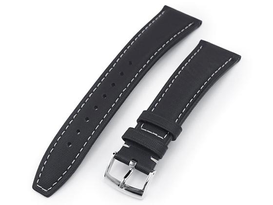 安心と信頼 20mm 22mm MiLTAT 時計ベルト ケブラー仕上げ アウトレット ベージュステッチ ポリッシュドバックル カーフ ブラック