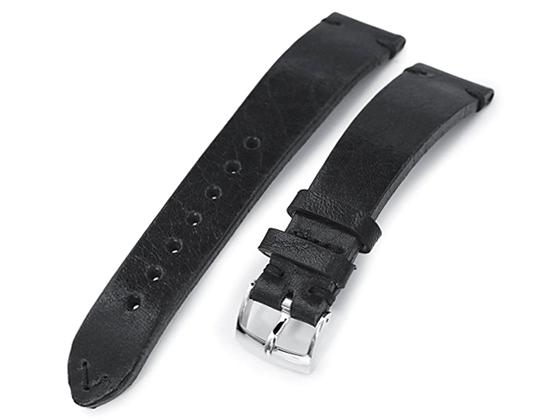 20mm MiLTAT 時計ベルト カーフ セミグロス ブラック ブラックステッチ ポリッシュドバックル
