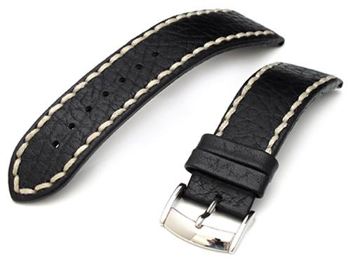 22mm TAIKONAUT 送料無料新品 時計ベルト カーフ バックル付き 数量は多 マットブラック バッファロー型押し