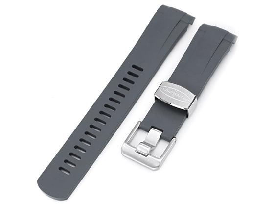 22mm Crafter Blue 時計ベルト NBRラバー グレー カーブドエンド for チューダー ペラゴス TUDOR Pelagos 25500TN, 25600TN, 25600TB, LHD 25610TN