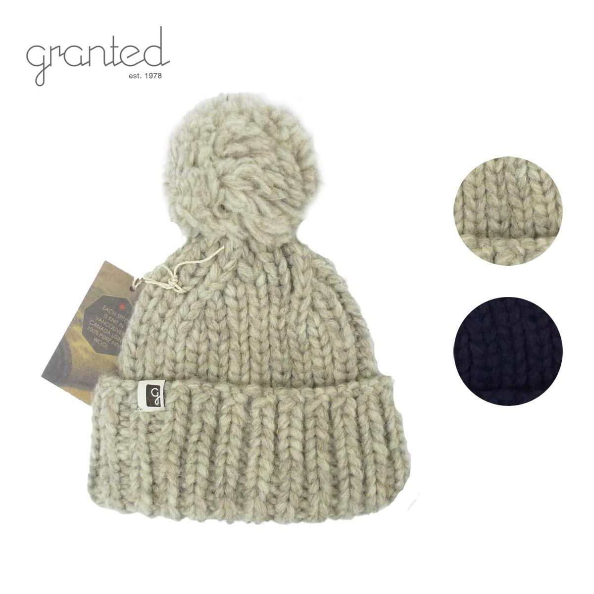 GRANTED グランテッド KNIT CAP CLASSIC TOQUE HAT メンズ/レディース グレー/ネイビー FREE[ニット帽 ウールキャップ キャップ 帽子 ポンポン 無地 ウール ニット カナダ製 ブランド アメカジ アウトドア 灰色 紺]