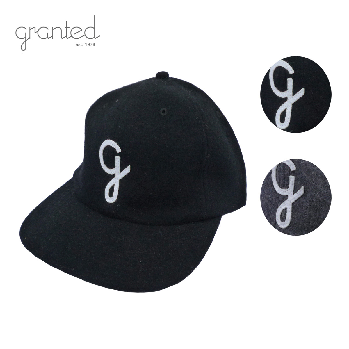 GRANTED グランテッド WOOL CAP メンズ/レディース ブラック/グレー FREE[ウールキャップ キャップ 帽子 ウール カナダ製 ヴィンテージ ブランド アメカジ アウトドア 黒 灰色]
