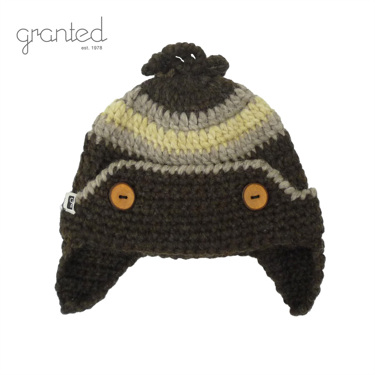 GRANTED グランテッド KNIT CAP FLAT EAR BUTTON HAT メンズ/レディース ブラウン FREE[ニット帽 ウールキャップ キャップ 帽子 耳あて ウール ニット カナダ製 ブランド アメカジ アウトドア 茶色]