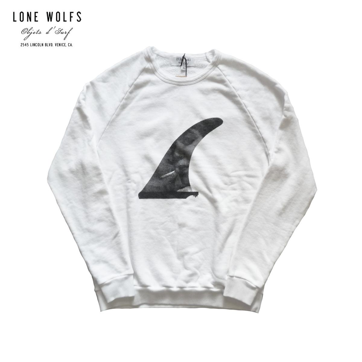 LONE WOLFS ローンウルフズ CREW SWEAT PHOTO FINS メンズ/レディース ホワイト S-L[LONEWOLFS トレーナー 長袖 プリント アメリカ カリフォルニア USA ブランド サーフ アメカジ 白]