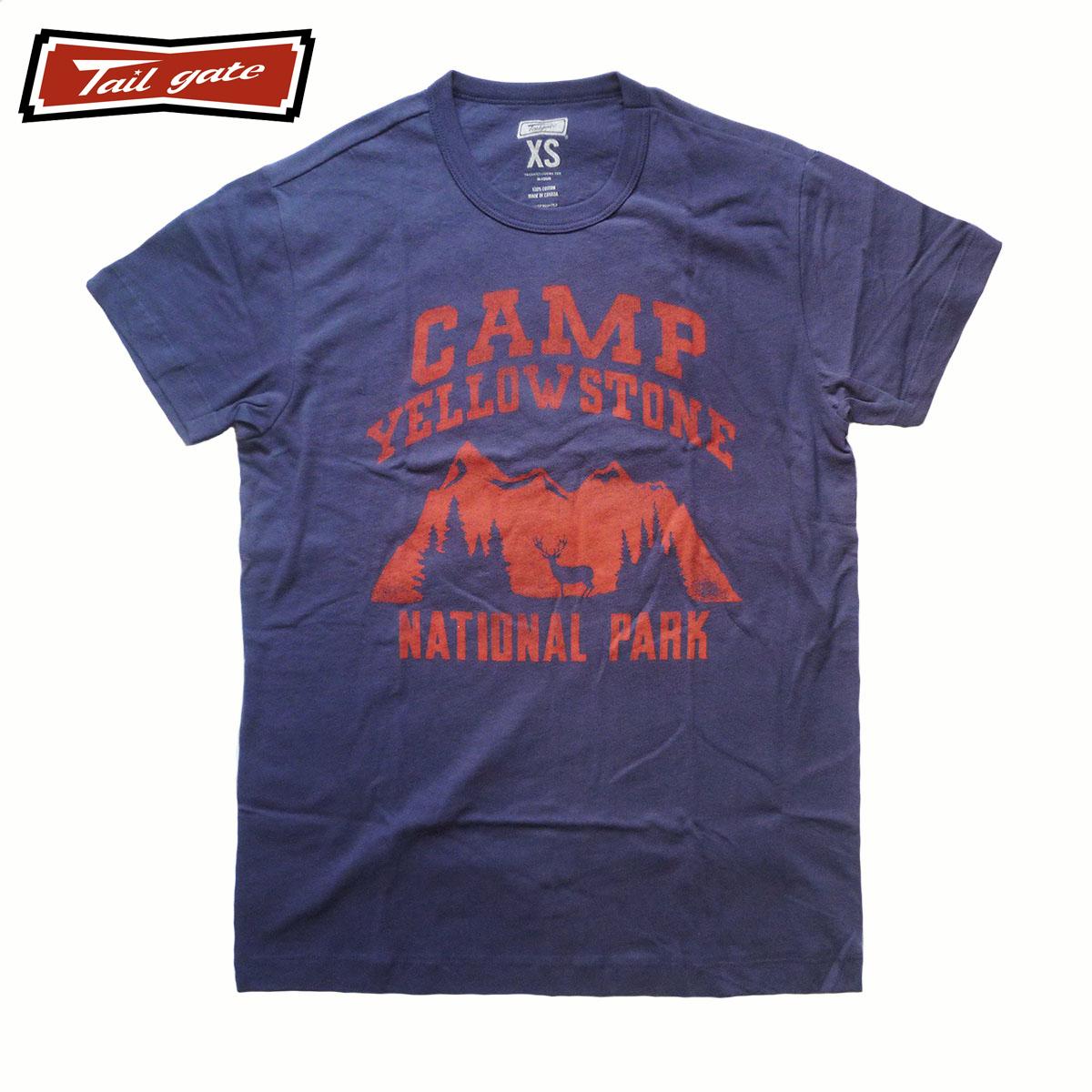 TAILGATE テイルゲート CAMP YELLOWSTONE Tシャツ メンズ/レディース ブルー XS-M[Tシャツ 半袖 プリント カナダ カナダ製 アメカジ アメカジファッション ブランド]