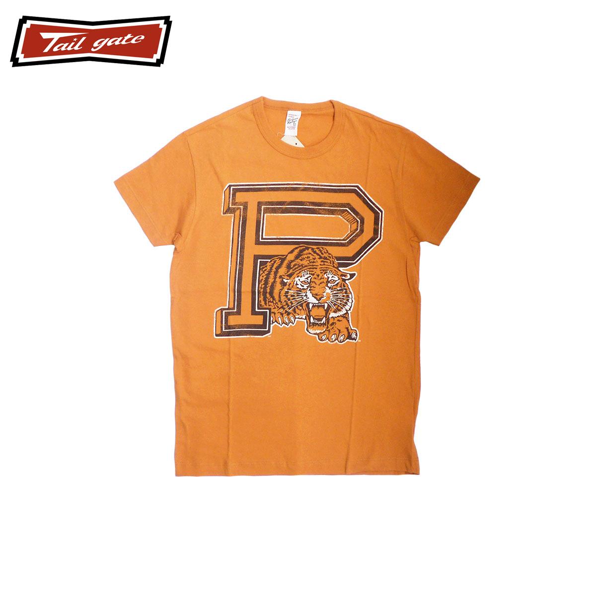 TAILGATE テイルゲート PRINCETON メンズ/レディース オレンジ XS-M[Tシャツ 半袖 半袖Tシャツ カットソー トラ 虎 動物 ロゴ カナダ カナダ製 アメカジ アメカジブランド アメカジファッション ブランド]